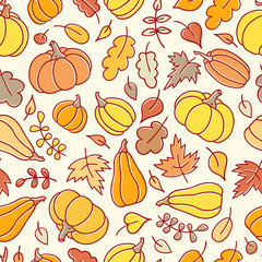 Autumn simless pattern with pumpkins  in a childish style