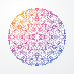 Ornamental abstract round lace rainbow colored pattern. Vector illustration.
