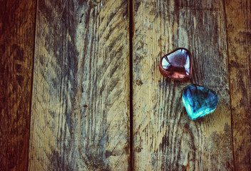 Valentine's day background, two glass hearts