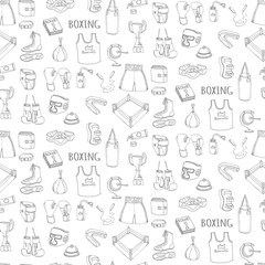 Seamless background of Hand drawn doodle boxing set Vector illustration Sketchy sport related icons boxing elements, boxing uniform, gloves, shoes, helmet, boxing ring, belt, trophy