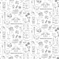 Seamless background hand drawn doodle american football set Vector illustration Sketchy sport football icons, ball helmet jersey pants knee thigh shoulder pads cleats field cheerleading down indicator
