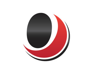 O Circle Initial Letter Logo. black ann red.