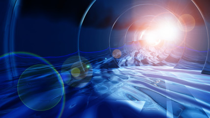 space and ice 3d abstract background