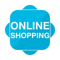 Blue square icon online shopping
