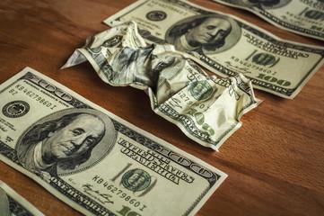 dollars on table