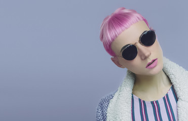 Vanilla pink hair. Pop style fashion Lady