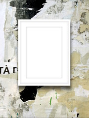 Close-up of one picture frame on scratched painted wall background