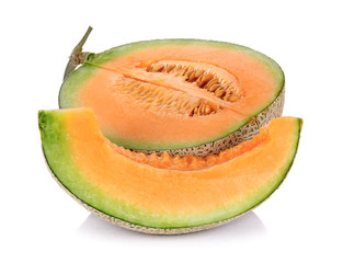 Melon fruit isolated on the white background