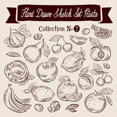 Fruit. Hand drawn sketch set vector illustration