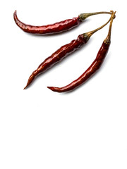 Dried chili on white background