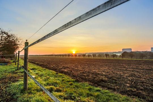 Elektrozaun an einer Pferdekuppel im Sonnenaufgang über Rheinhessen