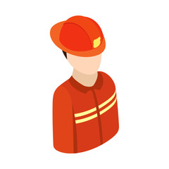 Fireman isometric 3d character icon
