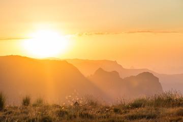 Coucher de soleil sur les hauts plateaux du Simien