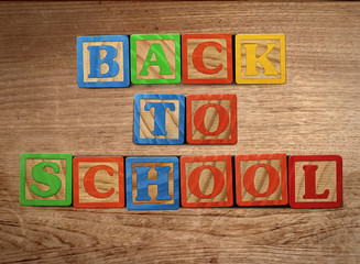 Back to school on wood table