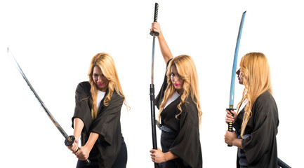 Woman dressed like samurai