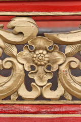 Wooden floral decoration in Chinese ancient temple, Chengde, China
