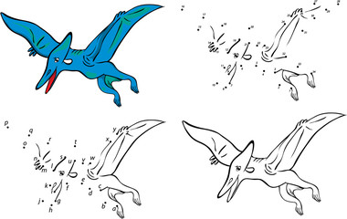 Cartoon pterodactyl. Vector illustration. Coloring and dot to do