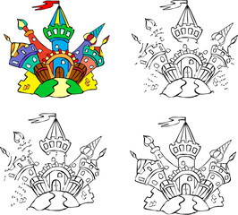 Cartoon fairytale castle. Vector illustration. Coloring and dot