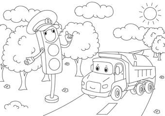 Cartoon lorry with traffic lights. Vector illustration