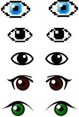 Set of different eyes
