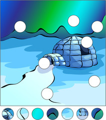 Igloo and northern lights in the sky. complete the puzzle and fi