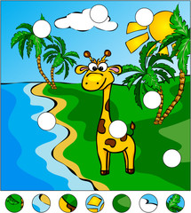 Giraffe and palm trees on the tropical island: complete the puzz