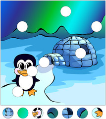 Penguin near the igloo and northern lights in the sky. complete