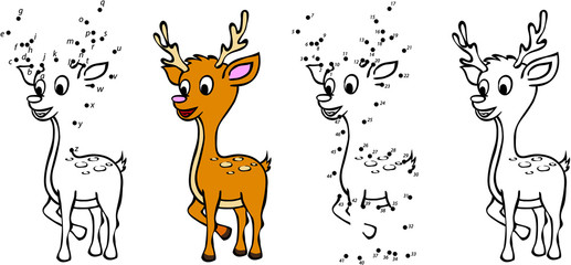 Cartoon deer. Vector illustration. Coloring and dot to dot game