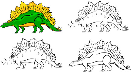 Cartoon Stegosaurus. Vector illustration. Coloring and dot to do