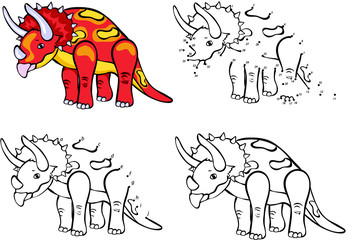 Cartoon Triceratops. Vector illustration. Coloring and dot to do