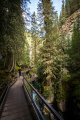 girl on a hiking trail overhanging the Johnston Canyon of the banff national park in alberta canada