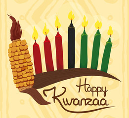Traditional kwanzaa elements with greeting message and gift vector category m4hsunfo