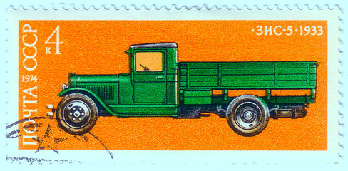 USSR - CIRCA 1974: A stamp printed in USSR shows Zis 5 truck, 19