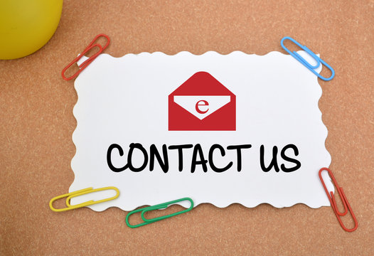 Contact Us Icon with pen and paper pins