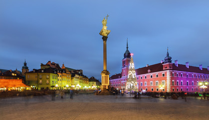 Old City of Warsaw in Poland in the evening,