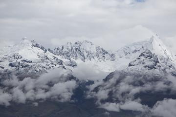 Snow covered mountain peak in the Cordillera Blanca, Peru