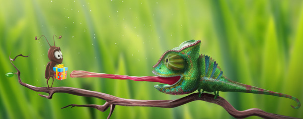 bright chameleon reaching for gift