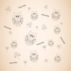 Vector pattern with funny owls and flowers, outline owls background