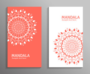 Greeting, invitation card, flyer in light colors with mandala ornament. Vector ornamental mandala. Stylish geometric pattern in oriental style. Arabic, indian, turkish, pakistan, asian motif.