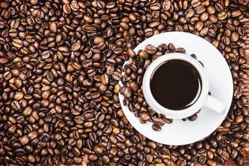 Roasted Coffee cup and coffee beans