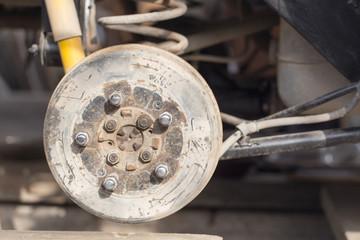 disassembled car wheel
