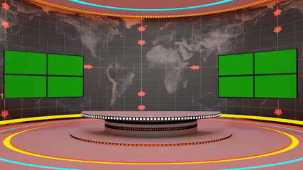 Futuristic 3d TV studio and chroma
