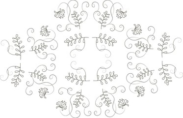 Graphics, design elements floral ornament. Thin black lines on a white background, rhombus