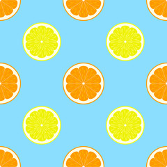 Lemon and orange slices seamless pattern