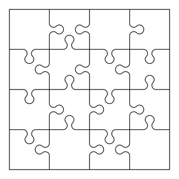 Vector puzzle template.  Jigsaw elements. 16 pieces