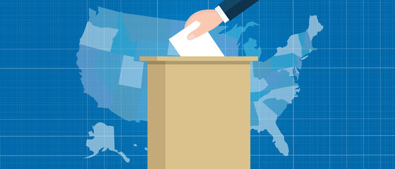usa map vote election hand holding ballot paper into box US united states of america