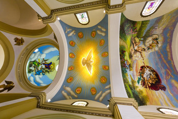 Colorful paintings on ceiling of Trujillo Cathedral, Peru