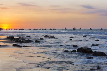 Sunset on the harbor of Mancora, Peru