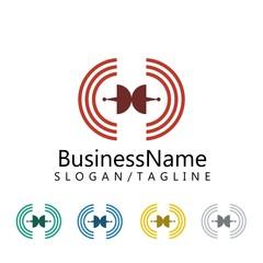 network technology logo icon vector