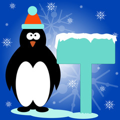 Christmas greeting card with cute penguin and place for your text.